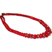 Dramatic Blood Red AB Faux Crystal Double Strand Necklace ~ West Germany