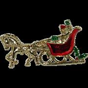 Lovely Enamel Gold Tone Christmas Sleigh Brooch
