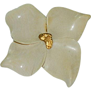 Glazed Porcelain with 24K Gold Dogwood Brooch