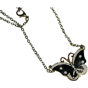 Black & White Monarch Butterfly Necklace Pendant Gold Tone