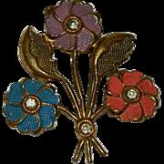 Early Enamel Unique Floral Spray Brooch