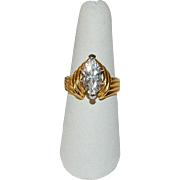 Flashy Huge Marquis CZ Gold Plated Cocktail Ring sz 8.5