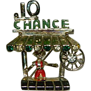 Funnest Figural Brooch of All Time! Carnival Booth 10 Cent Chance Spin and Win!!