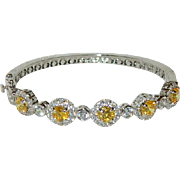Sparkling Yellow Sapphire CZ Clamper Bangle Bracelet ~ 925 Sterling