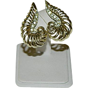 Marcel Boucher's MARBOUX Line Gold Tone Feather Earrings