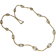 Amazing Art Deco Non Typical Faceted Rock Crystal Necklace