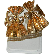 Unsigned Whiting & Davis Goldtone Mesh Bow Earrings
