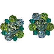Vintage Lisner Lime Green & Turquoise Crystal Cluster Earrings