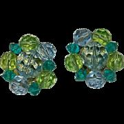 Vintage Lisner Lime Green & Turquoise Crystal Cluster Earrings