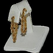 Elegant Napier Wrap Around Yellow Gold Chain Hoop Earrings for Pierced Ears