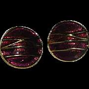 Maroon Enamel Celluloid Clip Back Earrings