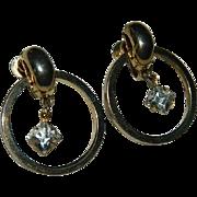 Stunning Gold Tone Dangling Crystal Hoop Earrings