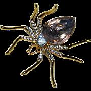 Sparkling Pink Rhinestone Spider Brooch