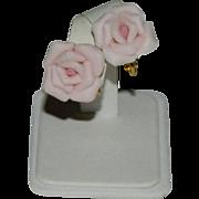 Fabulous Pink Porcelain Rose Earrings