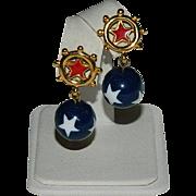 Avon Nautical Patriotic Earrings Pierced ~ Stars