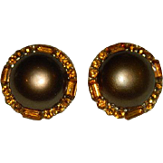 Big Bold Beautiful Amber Copper Colored Button Earrings