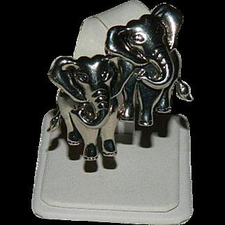 Cute Avon Trunk Up Elephant Earrings ~ Pierced