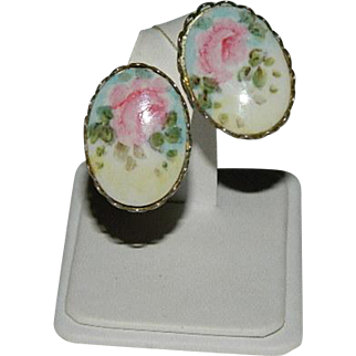 Sweet Painted Porcelain Floral Earrings ~ Soft Yellows and Pinks
