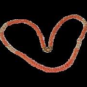 14K Angel Skin Coral & Freshwater Pearl Torsade Necklace