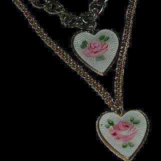 Guilloche Enamel Rose Hearts Charm Bracelet & Necklace ~ Sarah Coventry