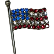 Spectacular Crystal American Flag Brooch ~ Patriotic Red White Blue Sterling silver