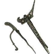 19th Century Sword Kilt Pin ~ Scabbard Sterling Silver
