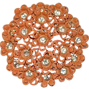 Orange Enamel Rhinestone Floral Brooch