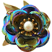 Rainbow Metallic Enamel Floral Brooch