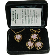 The Blushing Porcelain Rose Heart Full Suite Jewelry in Original Box ~ K