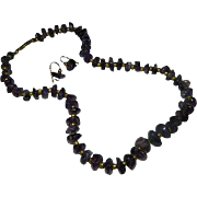 Art Deco Amethyst Beaded Necklace & Earring Set ~ Pierced ~ K