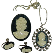 Simple Black & White Celluloid Cameo Full Set ~ Brooch, necklace, earrings ~ K