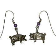 Sweet Sterling Silver Little Piggie Pierced Earrings ~ K
