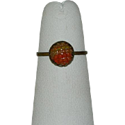 Edwardian Made in Czechoslovakia Art Glass Ring ~ Sz 4