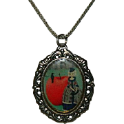 Totally Unique and Unusual Pendant ~ Lady, Apple, Raven Imagery