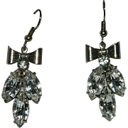 Beautiful Sparkling Large Rhinestone Bow Dangler Earrings for Pierced Ears