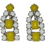 Summer White & Yellow Rhinestone Earrings