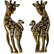 Avon Giraffe Pierced Earrings Front to Back