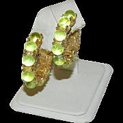 Rare Uranium Glass Cab Hoop Earrings ~ Vaseline Glass