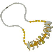 Spectacular Yellow White Summer Lucite Beaded Necklace ~ Brilliant