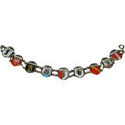 Germany Sterling Enamel Tourist Travel Bracelet ~ 9 Cities Crests