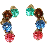 Fantastic Napier Early Lucite Beaded Statement Earrings