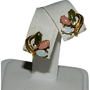 Gold Filled Jade, Coral & Opal Leaf Earrings Pierced