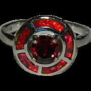 Modernist Mexican Fire Opal & Garnet Sterling Silver Ring sz 7.75