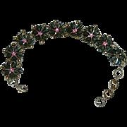 Black Thermoset Plastic Daisy Chain Bracelet in Silver Tone Metal