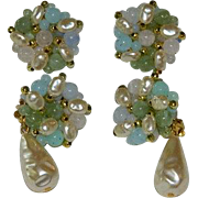 Day to Evening Baroque Pearls & Beads Cluster Earrings Set of 2 Pair