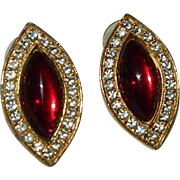 Dramatic Blood Red Molded Glass Rhinestone Evening Earrings