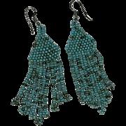 Pretty Navajo Seed Bead Dangler Earrings. Robin's Egg Blue
