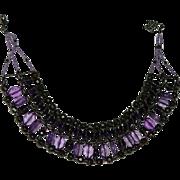 Vintage Royal Purple Glass & Lucite Egyptian Revival Bib Necklace