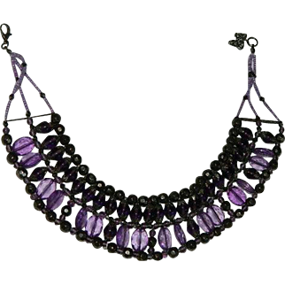 Vintage Royal Purple Glass & Lucite Egyptian Revival Bib Necklace
