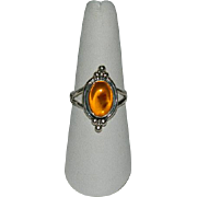 Mystical Baltic Amber Sterling Silver Ring sz 9